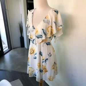 Floral white cut out back mini dress